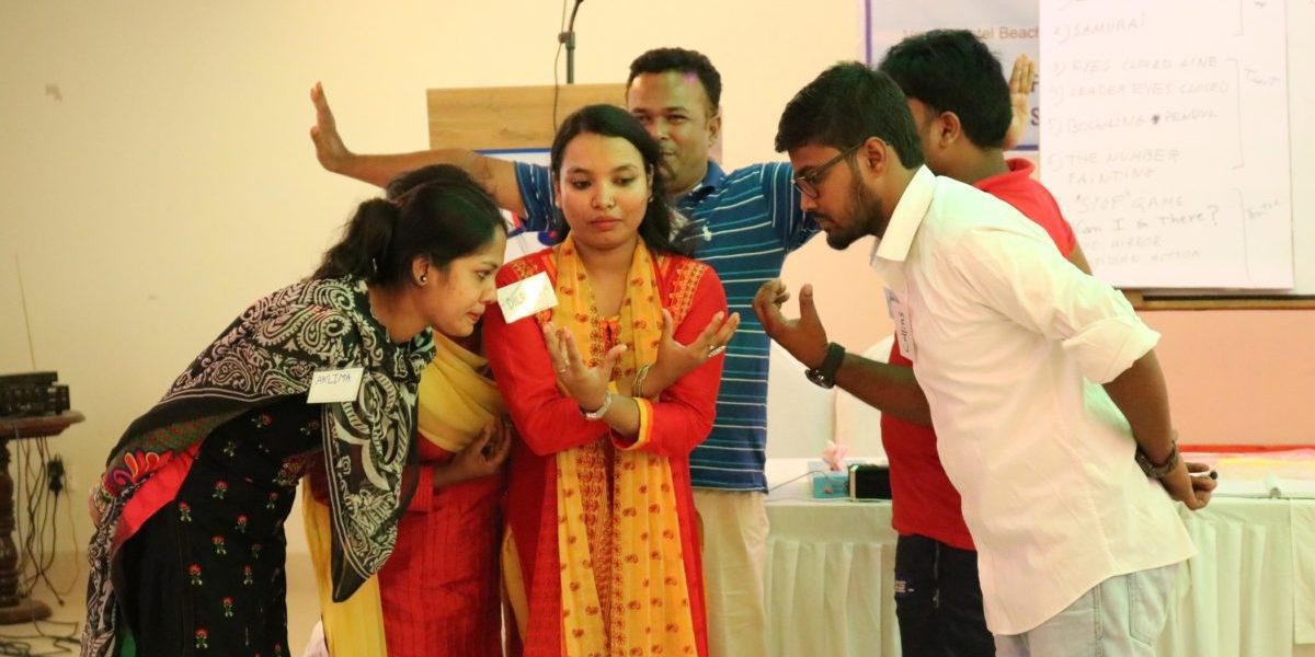 Psychosocial workshop for the opening of Child Friendly Spaces for Rohingya refugees in Bangladesh.