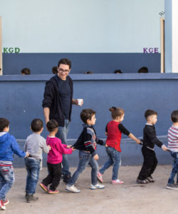 Children walk in line at the JRS FVDL centre in Bourj Hammoud, Lebanon.
