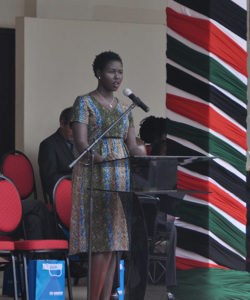 A South Sudan representative giving a speech during World Refugee Day celebrations in Nairobi, Kenya.