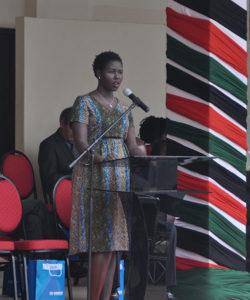 A South Sudan representative giving a speech during World Refugee Day celebrations in Nairobi, Kenya.
