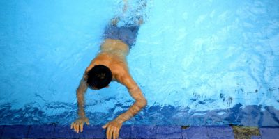 Leaning to swim helped Najib, an Afghan refugee living in Indonesia, to cope with stress.