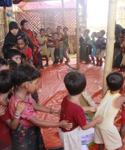 Rohingya children play in the Child Friendly Spcases (CFS) run by JRS and Caritas in Cox's Bazar, Bangladesh.