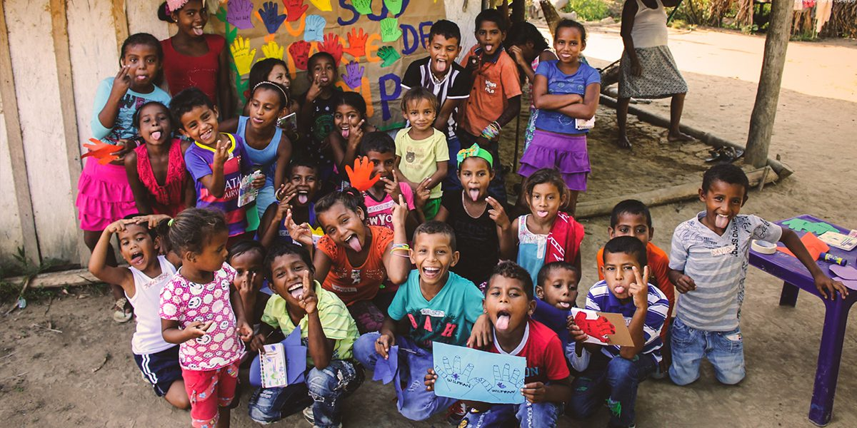 Children in Magdalena Medio, Colombia, say no to the recruitment and involvement of children in armed conflict on Red Hand Day.