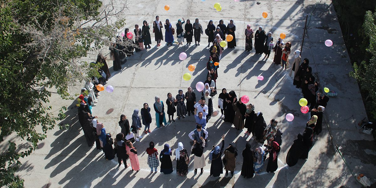 Students of the Herat Technical Institute celebrate Peace Day.